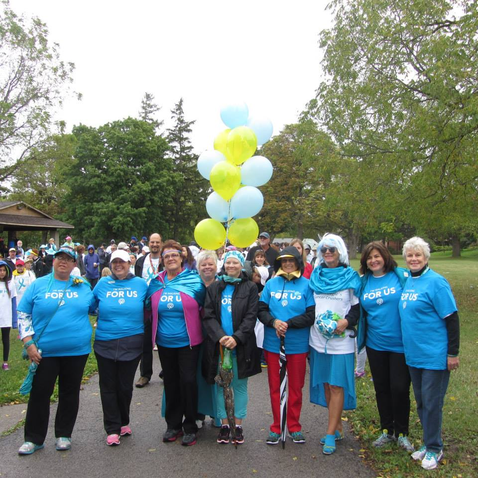 Candice, left, and other survivors at the Walk